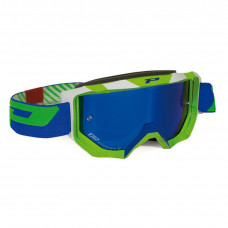 3200 FLUO OFFROAD GOGGLES GREEN/WHITE LENS MIRRORED BLUE