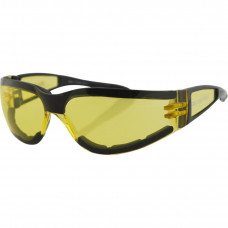 BOBSTER SHIELD II SUNGLASSES BLACK FRAME W/ YELLOW LENSES