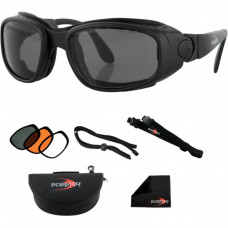 BOBSTER SPORT & STREET SUNGLASSES BLACK FRAME W/ 3 LENSES (SMOKE, AMBER, CLEAR)